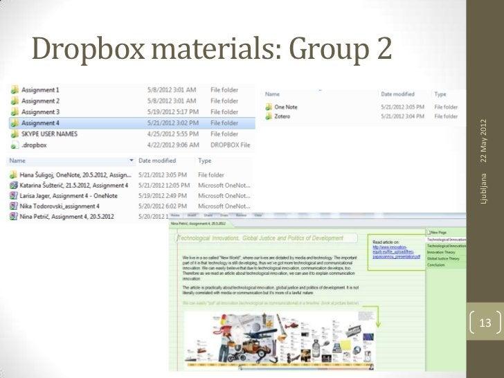 Dropbox materials: Group 2                             22 May 2012                             Ljubljana                  ...