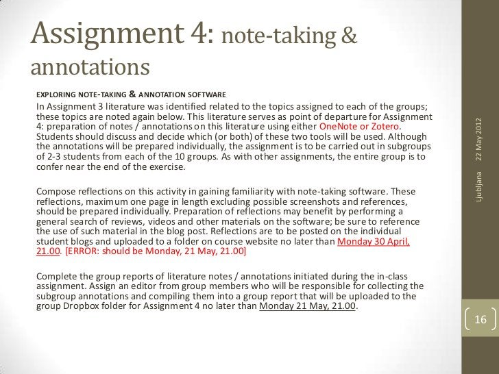 Assignment 4: note-taking &annotationsEXPLORING NOTE-TAKING & ANNOTATION SOFTWAREIn Assignment 3 literature was identified...