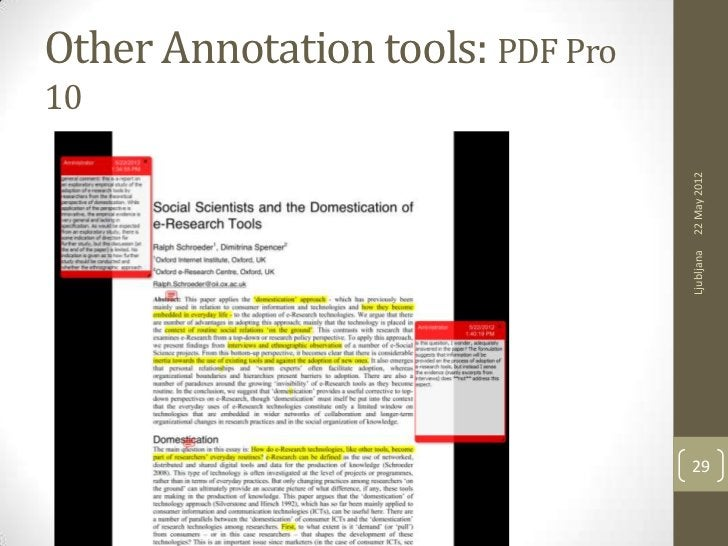 Other Annotation tools: PDF Pro10                                  22 May 2012                                  Ljubljana ...