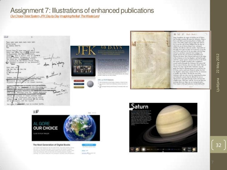 Assignment 7: Illustrations of enhanced publicationsOur Choice; Solar System, JFK: Day by Day; Imagining the Iliad, The Wa...