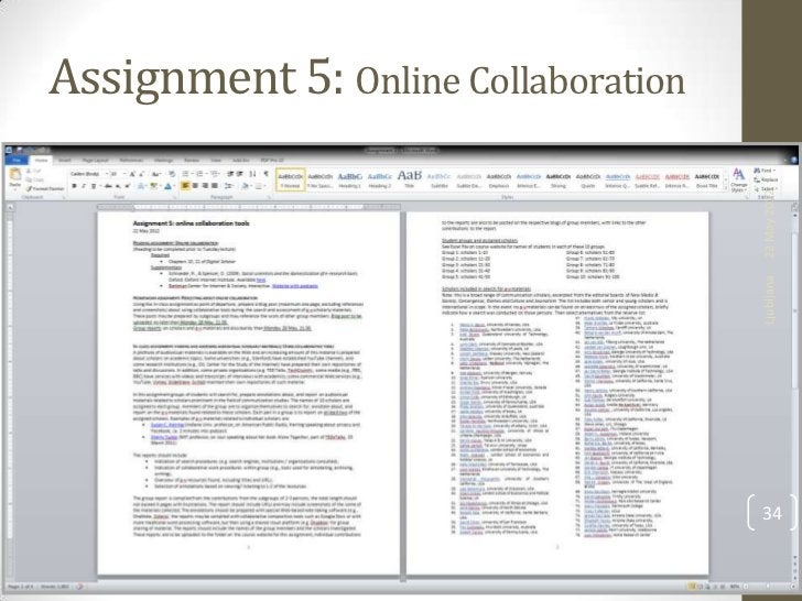 Assignment 5: Online Collaboration                                     22 May 2012                                     Lju...