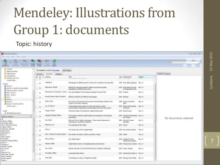 Mendeley: Illustrations fromGroup 1: documentsTopic: history                               22 May 2012                    ...