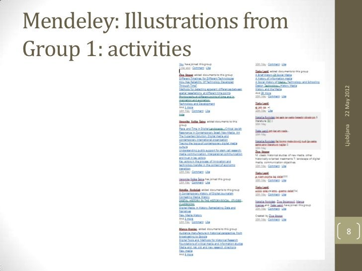 Mendeley: Illustrations fromGroup 1: activities                               22 May 2012                               Lj...