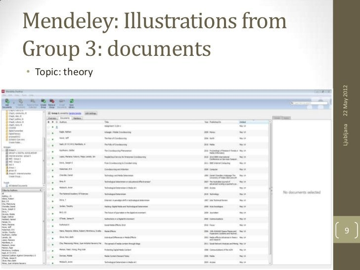 Mendeley: Illustrations fromGroup 3: documents• Topic: theory                               22 May 2012                   ...