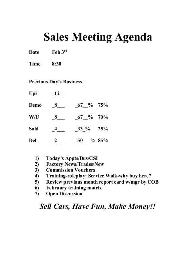 Daily meeting agenda sales meeting agenda date feb 3rd time 830 previous days business ups 12 demo reheart