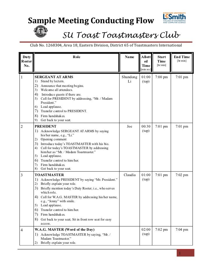 SU Toast Toastmasters' Meeting Conducting Flow