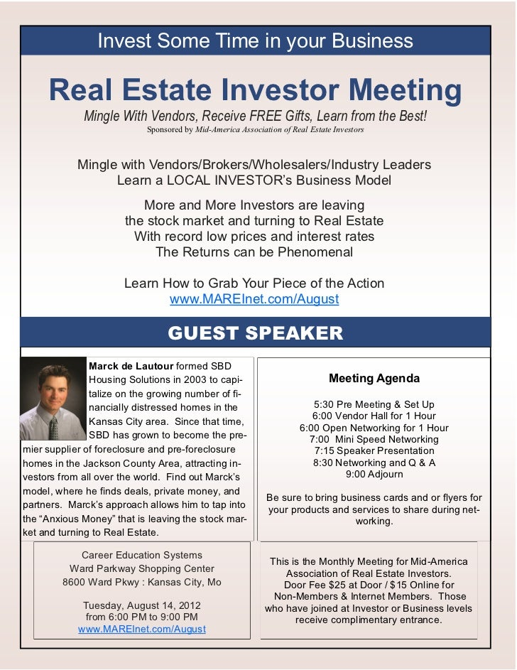 Invest Some Time in your Business     Real Estate Investor Meeting             Mingle With Vendors, Receive FREE Gifts, Le...