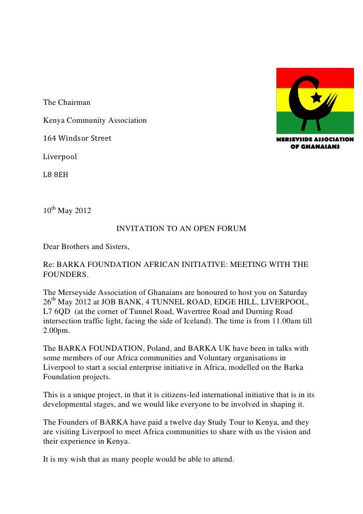 The ChairmanKenya Community Association164 Windsor StreetLiverpoolL8 8EH10th May 2012                        INVITATION TO...