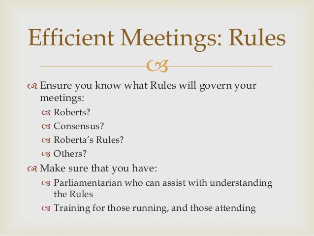Robert S Rules And Meeting Management