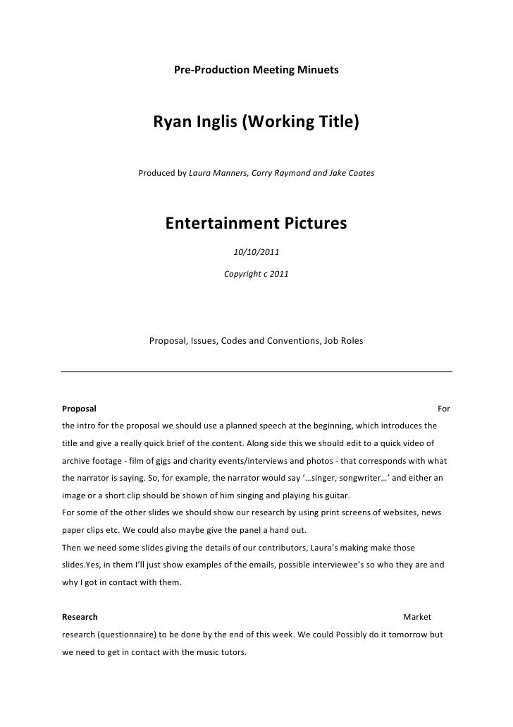 Pre-Production Meeting Minuets<br />Ryan Inglis (Working Title)<br />Produced by Laura Manners, Corry Raymond and Jake Coa...