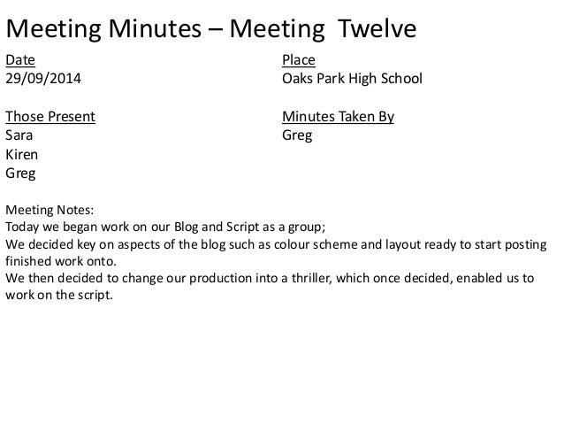 layout for meeting minutes