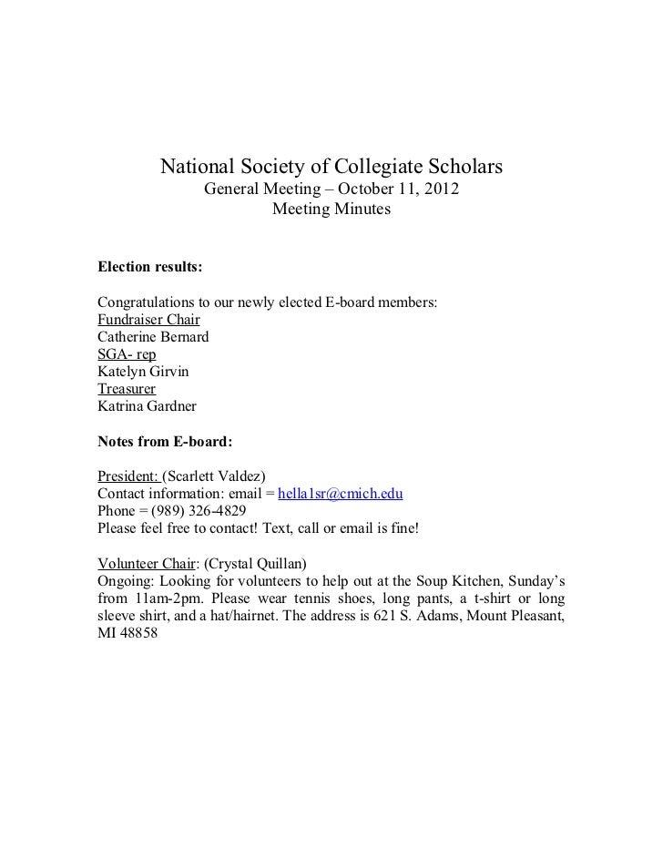 National Society of Collegiate Scholars                    General Meeting – October 11, 2012                             ...