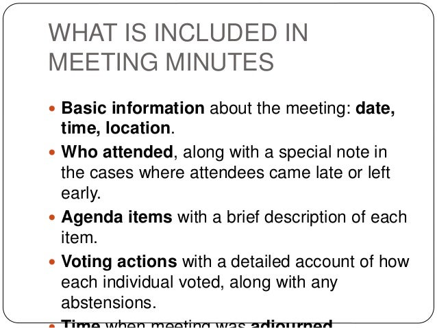 what are minutes for a meeting
