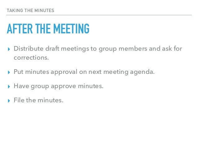taking minutes at a meeting