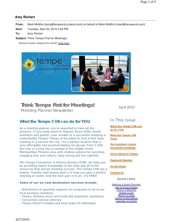 Think Tempe First for Meetings!                                          April 2010    Meeting Planner Newsletter    What ...