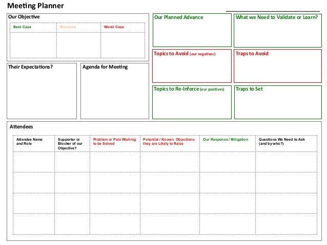 Meeting planner tool for Planning a conference template