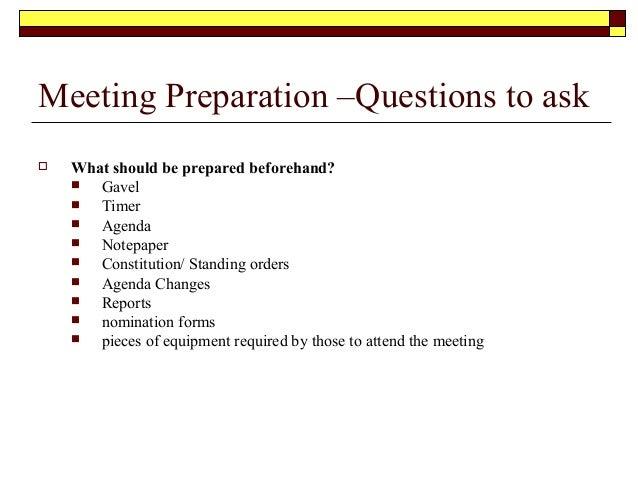 Meeting procedures – Preparing Meeting Agenda