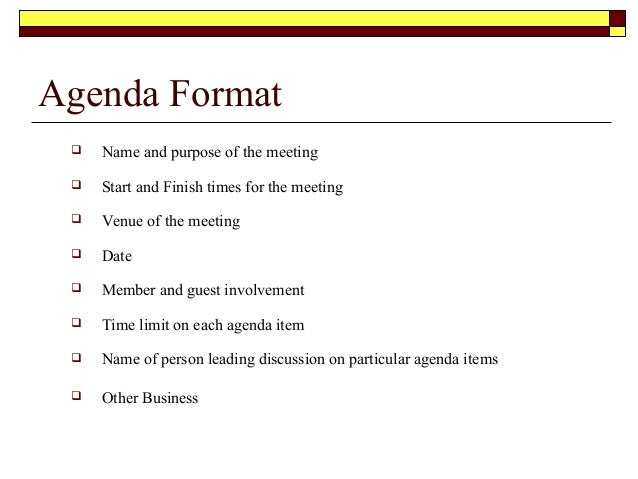 how to prepare an agenda for a meeting