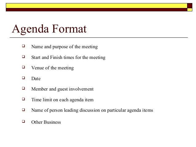 Agenda Format ...