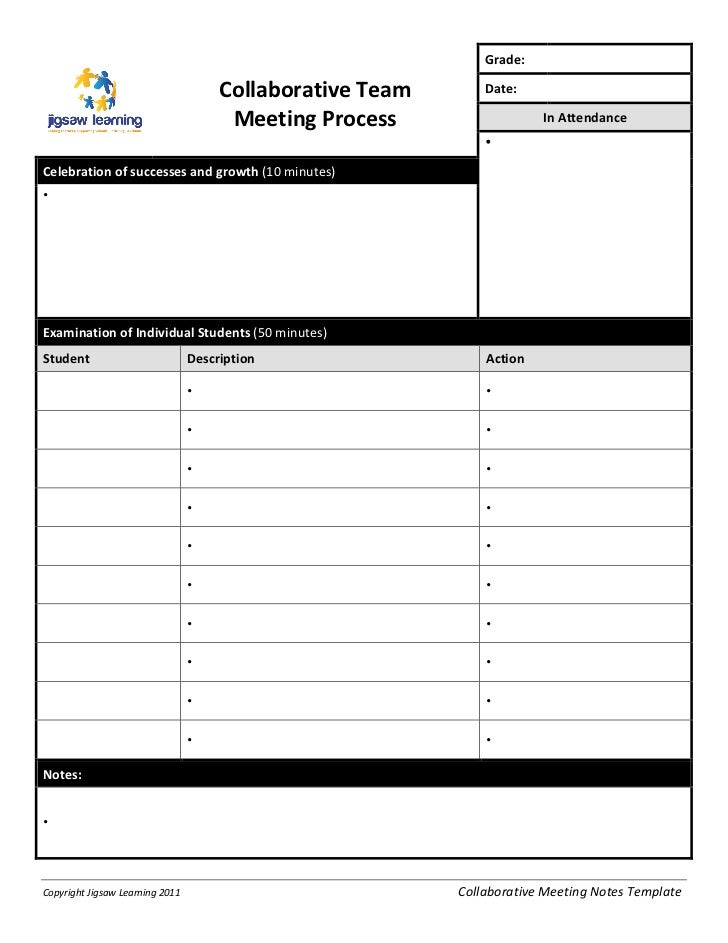 Collaborative team meeting record template for Recording meeting minutes template