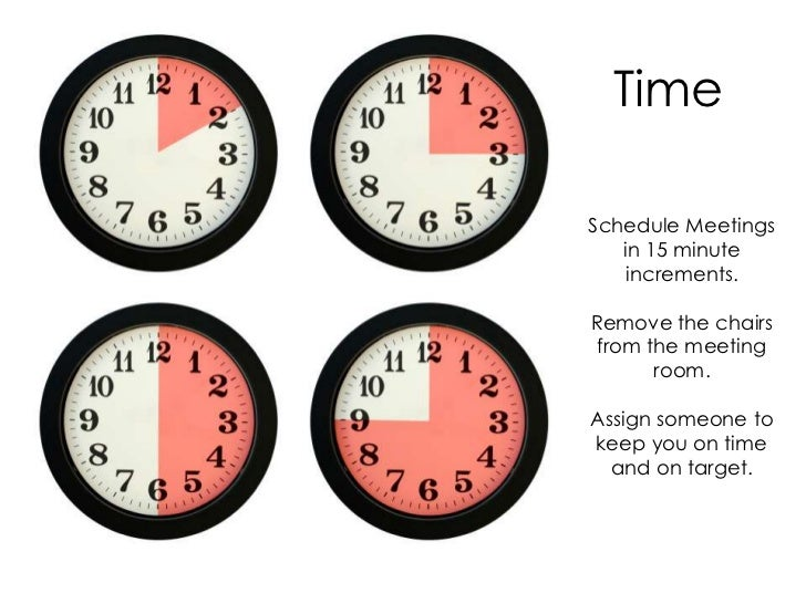 TimeSchedule Meetings   in 15 minute    increments.Remove the chairs from the meeting       room.Assign someone tokeep you...
