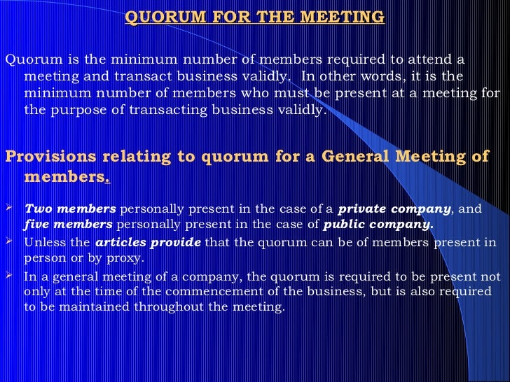 quorum for board meeting companies act 1956