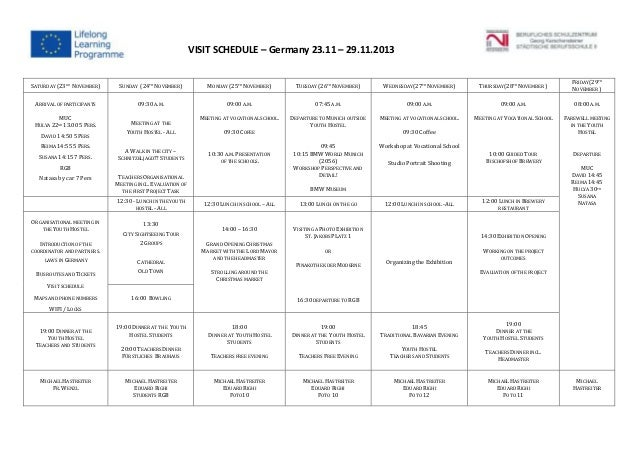Meeting schedule regensburg nov 2013 draft