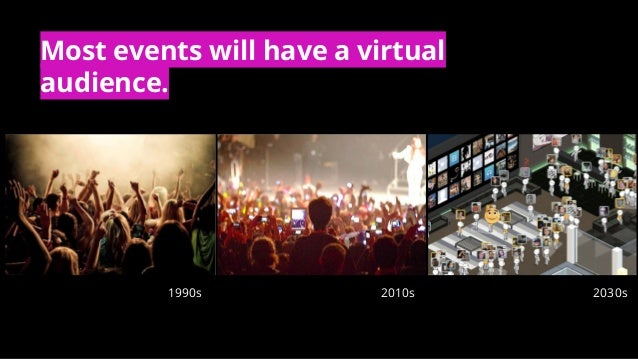 1990s 2010s 2030s Most events will have a virtual audience.