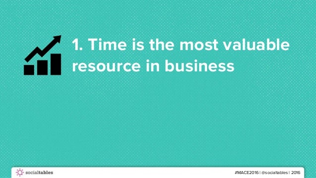 #MACE2016 | @socialtables | 2016 1. Time is the most valuable resource in business