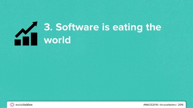 #MACE2016 | @socialtables | 2016 3. Software is eating the world
