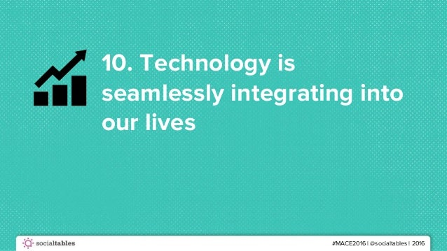 #MACE2016 | @socialtables | 2016 10. Technology is seamlessly integrating into our lives