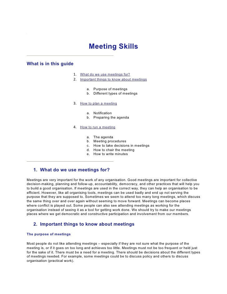 Meeting Skills  What is in this guide                               1. What do we use meetings for?                       ...