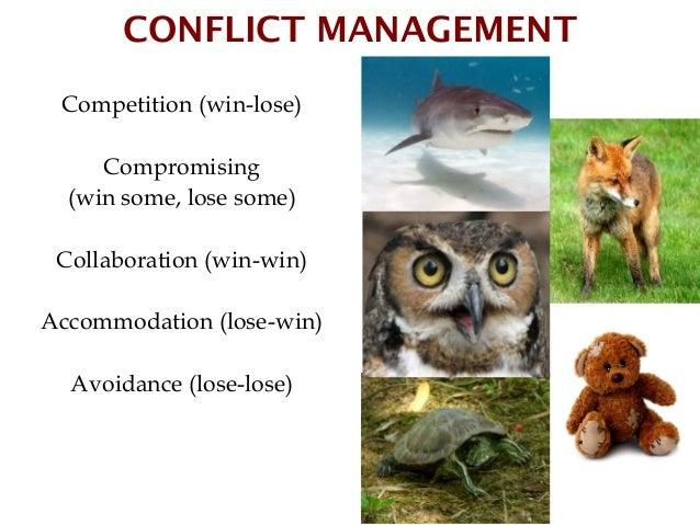CONFLICT MANAGEMENT Competition (win-lose)     Compromising  (win some, lose some) Collaboration (win-win)Accommodation (l...