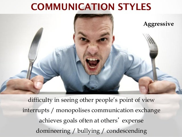 COMMUNICATION STYLES                                             Aggressive difficulty in seeing other people's point of v...