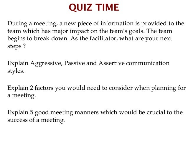 QUIZ TIMESylvester Wee is in a management meeting to present his reportto Lionel Toh, Chairman of the meeting. One of the ...