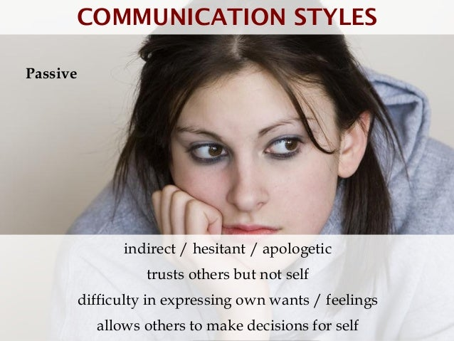 COMMUNICATION STYLESPassive                indirect / hesitant / apologetic                    trusts others but not self ...