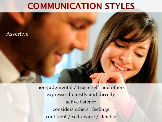COMMUNICATION STYLESAssertive            non-judgmental / trusts self and others                expresses honestly and dir...