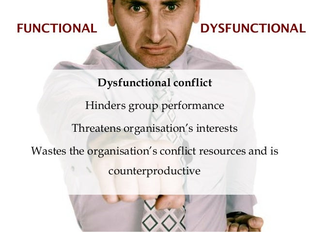 FUNCTIONAL                         DYSFUNCTIONAL              Dysfunctional conflict            Hinders group performance ...