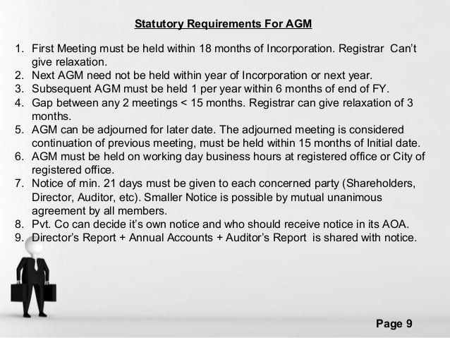 differences between statutory meeting agm and Meeting as its annual general meeting in each year in addition to any other   plain that the statute draws the distinction between the void, voidability and.