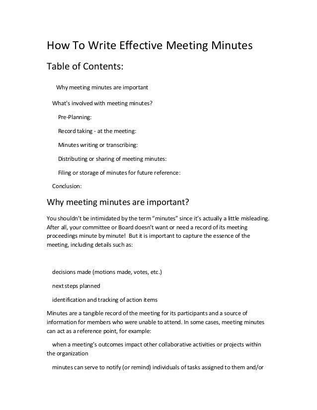 Meetings minuts