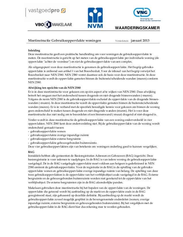 WAARDERINGSKAMER   MeetinstructieGebruiksoppervlaktewoningen  Versiedatum:januari2013  Inleiding Dezemeetinstru...
