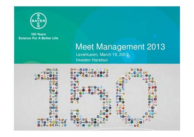 Meet Management 2013Leverkusen, March 19, 2013Investor Handout