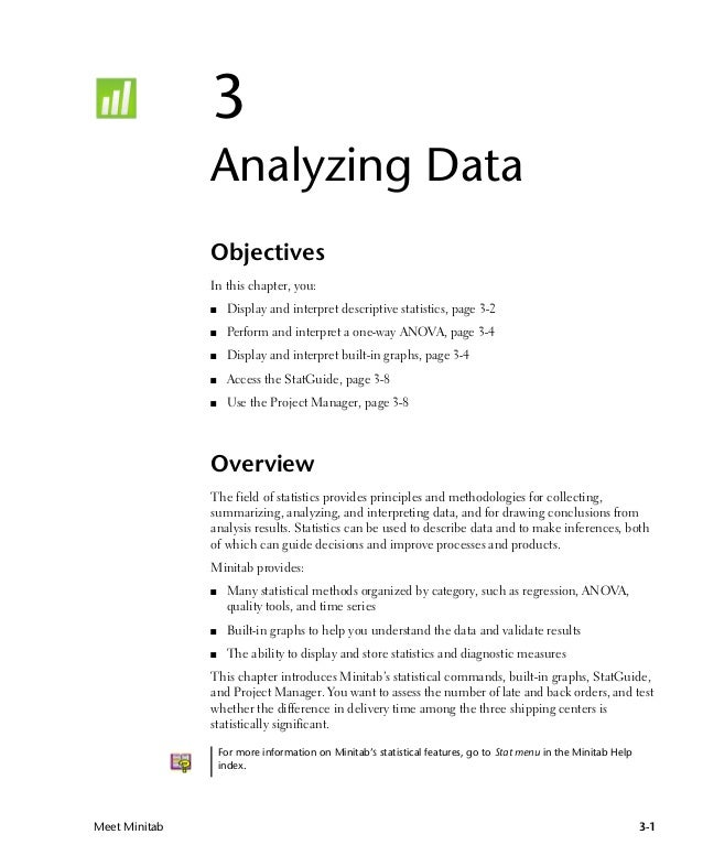Meet minitab tutorial – Analyzing Data Worksheet