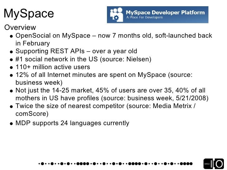 MySpace Platform Status    Currently moving towards OpenSocial 0.8    Application Communication Channel debuting soon – In...