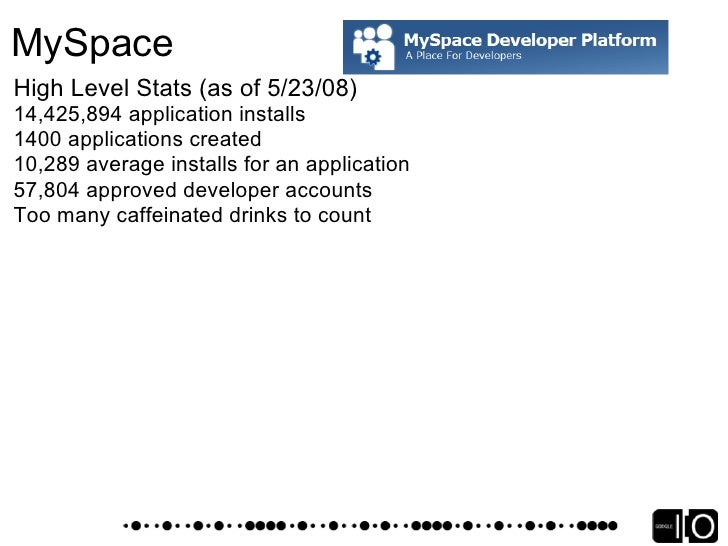 MySpace Fostering the Ecosystem      All groups in MySpace Developer Platform actively monitoring channels         Develop...