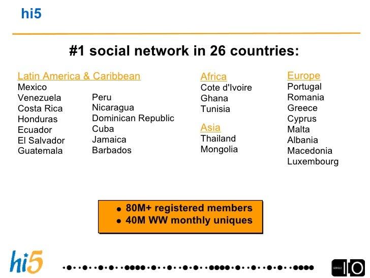 hi5 — Truly Global Social Network     hi5 Traffic Across the Globe                         25    15                %    % ...