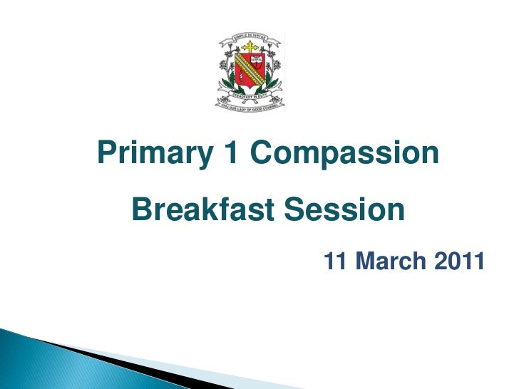 Primary 1 Compassion Breakfast Session             11 March 2011