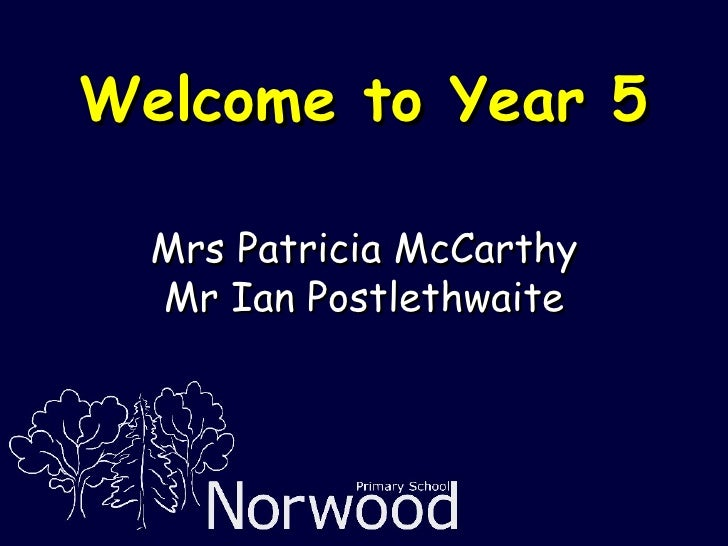 Welcome to Year 5 Mrs Patricia McCarthy Mr Ian Postlethwaite