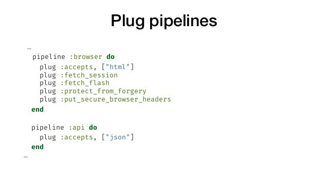 """Plug pipelines … pipeline :browser do plug :accepts, [""""html""""] plug :fetch_session plug :fetch_flash plug :protect_from_for..."""