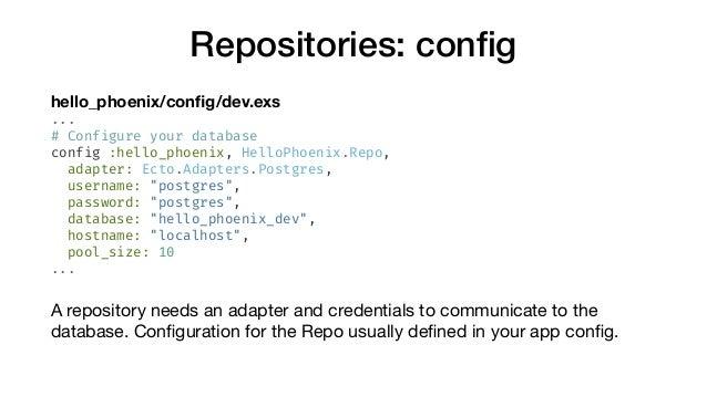 Repositories: config hello_phoenix/config/dev.exs ... # Configure your database config :hello_phoenix, HelloPhoenix.Repo, ad...